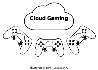 Cloud gaming concept. Modern gamepad. Connection to the cloud service. Future of mobile, pc, tablet, console games. Black flat simple sign or icon. White background. Vector EPS10 illustration