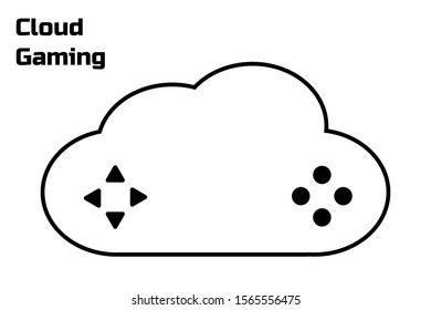 Cloud gaming concept. Modern gamepad. Connection to the cloud service. Future of mobile, pc, tablet, console games. Black flat simple sign or icon. White background. Vector EPS10 illustration.