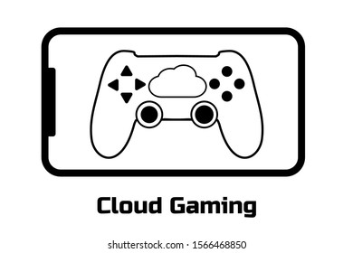 Cloud gaming concept. Modern smartphone and gamepad connected to the cloud service. Future of mobile, pc, tablet, console games. Black flat simple sign or icon. White background. Vector illustration.