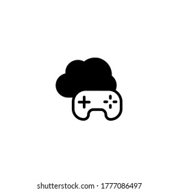 Cloud gaming icon in black flat glyph, filled style isolated on white background