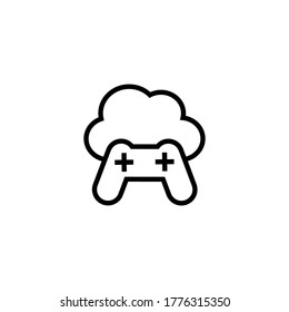 Cloud gaming icon  in black line style icon, style isolated on white background