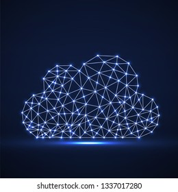 Cloud of glowing lines and dots, abstract polygonal structure cloud of connected points. Vector