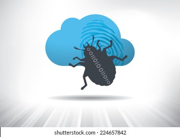 Cloud Hacking Concept. Cloud icon with virus bug. Fully scalable vector illustration.