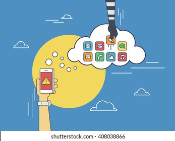 Cloud hacking. Flat line contour illustration of cloud hacking during synchronization process between smartphone and cloud data storage. Thief hand picks up the data of social networking account