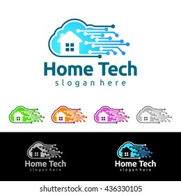 Cloud home vector logo design, simple cloud with negative space concepts and house, represented data, internet sophisticated, and modern real estate