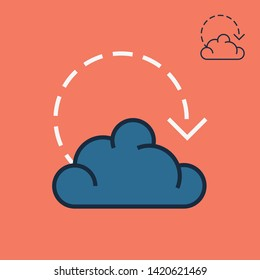 Cloud hosting icon with trendy line illustration for app screen, website button, banner design. Editable stroke, pixel perfect Database sign. Data room icon and server farm symbol in linear style.