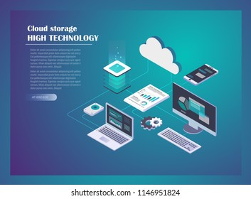 Cloud Hosting Network isometric concept. Online Computing Storage concept. Computer, Laptop, Mobile phone, hard drive connection on blue background. Design for Landing Page. Vector illustration