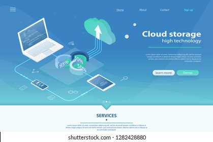 Cloud Hosting Network isometric concept. Online Computing Storage concept. Concepts Cloud storage. Header for website with Computer, laptop, smartphone. Isometric Cloud Hosting Network Banner Design.