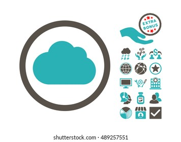 Cloud icon with bonus design elements. Vector illustration style is flat iconic bicolor symbols, grey and cyan colors, white background.