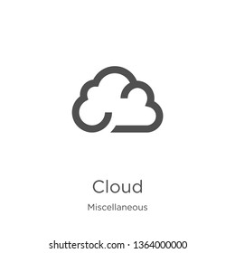 cloud icon. Element of miscellaneous collection for mobile concept and web apps icon. Outline, thin line cloud icon for website design and mobile, app development