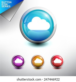 Cloud Icon. Glossy Button Icon Set. Vector Illustration
