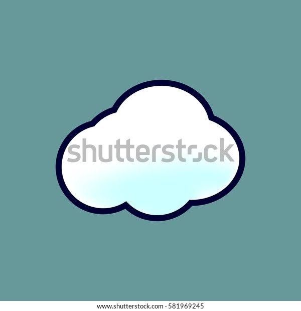 Cloud icon, isolated sticker, symbol design template, vector illustration