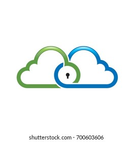 cloud icon with keyhole in green blue & black-vector drawing