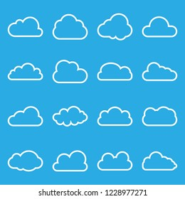 Cloud icon, line, icon set. Vector illustrations. Flat design.