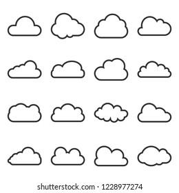 Cloud icon, line, icon set. Vector illustrations. Flat design.