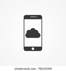Cloud icon on phone screen.gradient illustration isolated vector sign symbol