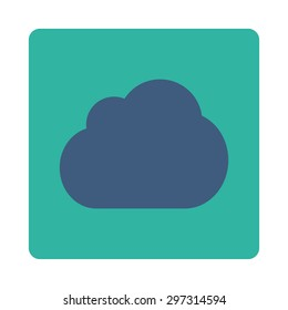 Cloud icon from Primitive Buttons OverColor Set. This rounded square flat button is drawn with cobalt and cyan colors on a white background.