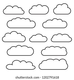 Cloud icon set, black outlined isolated on white background, vector illustration.