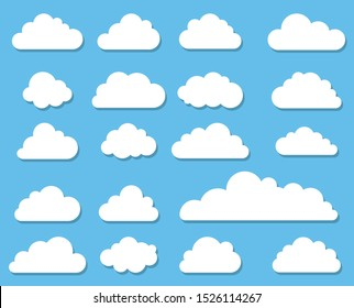 Cloud icon. Set of clouds in a flat style. Vector graphics