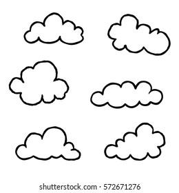 Cloud icon set. Doodle line art weather sign illustration