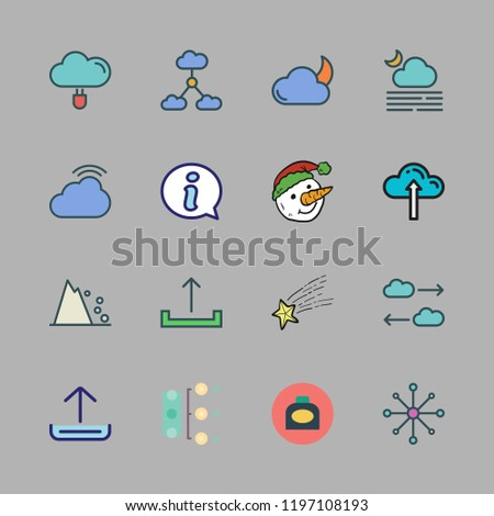 cloud icon set  vector set about data storage, diagram, ink and information  icons