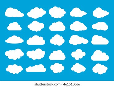 Cloud icon, cloud shape. Set of different clouds. Collection of cloud icon, shape, label, symbol. Graphic element vector. Vector design element for logo, web and print.