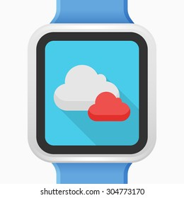 Cloud icon - vector , eps10(flat icon , long shadow)