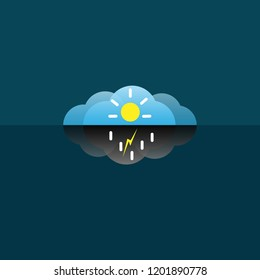Cloud icon Vector, sun and rain