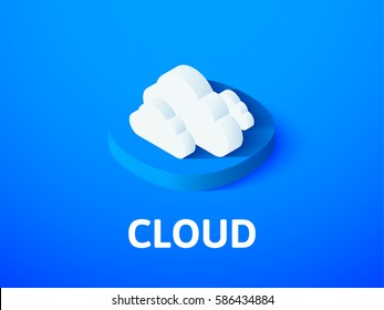 Cloud icon, vector symbol in flat isometric style isolated on color background