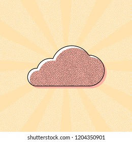 cloud icon. Vintage retro typography with offset printing effect. Dots poster with comics pop art background