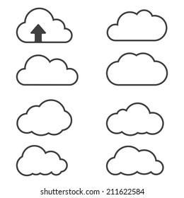 Cloud icons for cloud computing for web and app