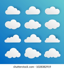 Cloud icons set. 3d design element on the blue background. Vector illustration