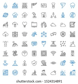 cloud icons set. Collection of cloud with tornado, storm, watering, hot air balloon, no chatting, steam, cloud computing, mind, security, upload. Editable and scalable icons.