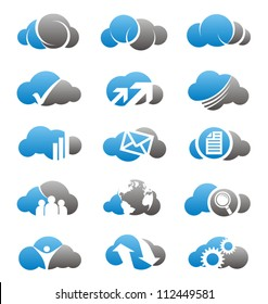 Cloud icons set. Simple two colors computing symbols, signs and logos.