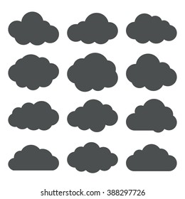 Cloud icons set. Vector silhouettes of a clouds. Black on white. Vector illustration.