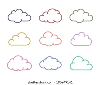Cloud icons. Vector cloud shapes collection