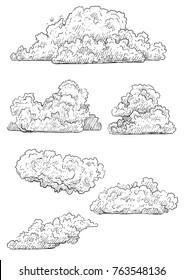 Cloud illustration, drawing, engraving, ink, line art, vector