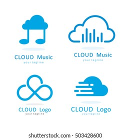 CLOUD INFINITY MUSIC FAST LOGO ICON TEMPLATE SET