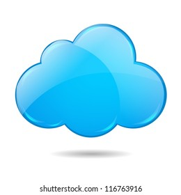 Cloud, Isolated On White Background With Gradient Mesh,  Vector Illustration