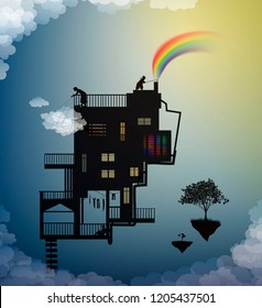 cloud keeper, creating the rainbow catching the cloud, magic house on the heavens in the dreamland, rain keeper, scene from wonderland, silhouette story, shadows,  vector