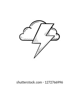 Cloud and lightning bolt hand drawn outline doodle icon. Thunderbolt, flash and thunderstorm concept. Vector sketch illustration for print, web, mobile and infographics on white background.