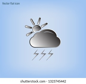 Cloud, lightning and sun vector icon. Cloud, sun and lightning, with a thunderstorm weather icon. Cloudy weather with lightning and thunderstorm. Vector.