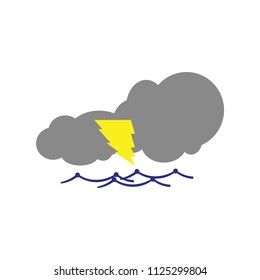 cloud with lightning vector icon