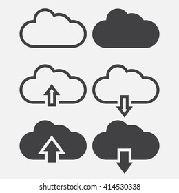 cloud line icon, outline and solid vector illustration, linear pictogram isolated on gray