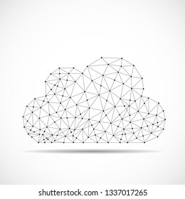 Cloud of lines and dots, abstract polygonal structure cloud of connected points. Vector illustration