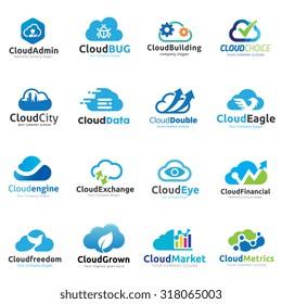 Cloud logo design set