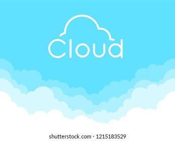 Cloud logo isolated on a blue background. Thin line logo or icon. Border of clouds. Simple modern cartoon design. Flat style vector illustration.