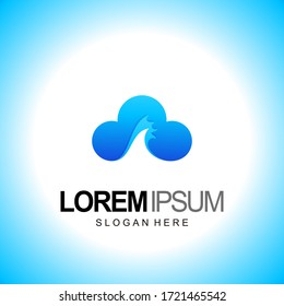 cloud logo. with wave design template vector