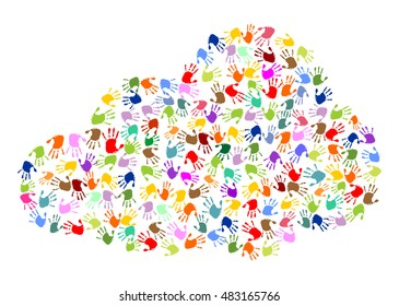 cloud made of colorful hand prints