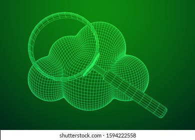 Cloud with magnifying glass. Concept of cloud computing service technology and search. Wireframe low poly mesh vector illustration